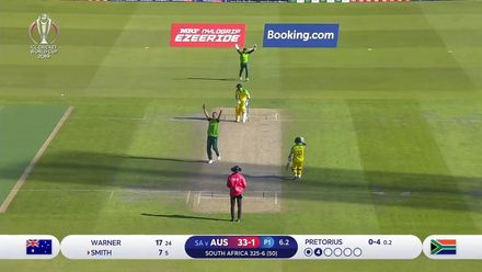 CWC19: AUS v SA - Pretorius traps Smith LBW