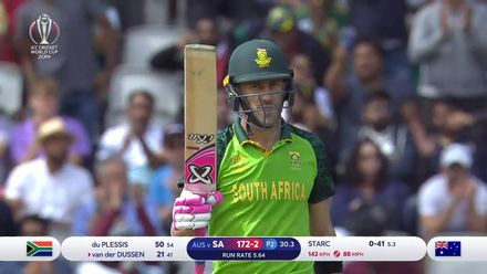 CWC19: AUS v SA - Du Plessis brings up his first century of CWC19