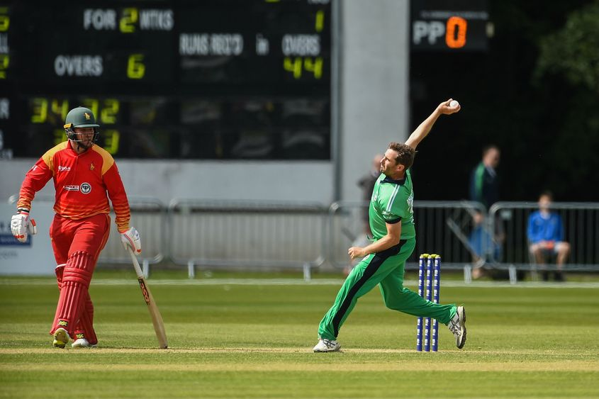 Tim Murtagh was Ireland's star bowler finishing with brilliant figures of 3/39