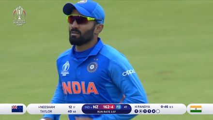 CWC19 SF: IND v NZ – Neesham is caught at long-on by Karthik for 12