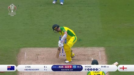 CWC19 SF: AUS v ENG - Behrendorff is bowled as final wicket falls