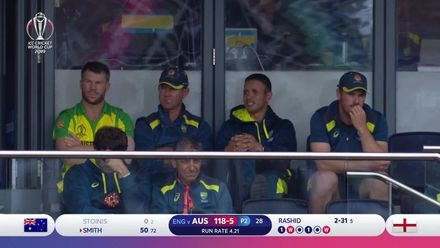CWC19 SF: AUS v ENG - Two in the over as Rashid traps Stoinis LBW