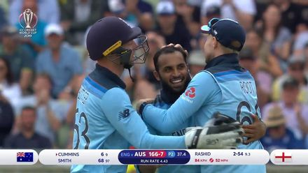 CWC19 SF: AUS v ENG - Sharp catch from Root at slip removes Cummins