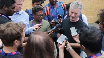 Australia cricket legend Steve Waugh talks to the media at the Criiio Cup during the Criiio Cup at Trafalgar Square on July 12, 2019 in London, England.