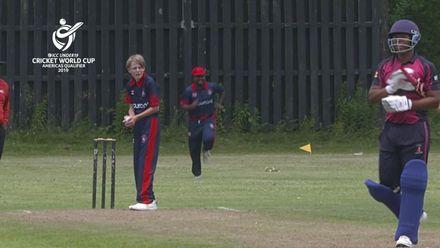 ICC U19 CWC Americas Q – BER v CAY: Gabriel Harrington Myers' caught and bowled to get rid of Bermuda skipper