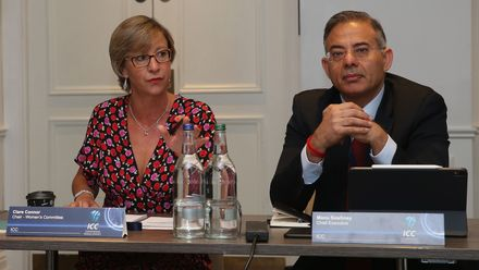 Clare Connor, Chair of the Women's Committee and Manu Sawhney, ICC Chief Executive during the ICC Women's Committee Meeting during the ICC Annual Conference at Kimpton Fitzroy Hotel on July 16, 2019 in London, England.
