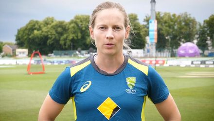Shelley Nitschke and Meg Lanning congratulate Cathryn Fitzpatrick on ICC Hall of Fame Honour