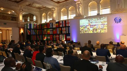 General view during the ICC Full Council Meeting at the ICC Annual Conference at Kimpton Fitzroy Hotel on July 18, 2019 in London, England.