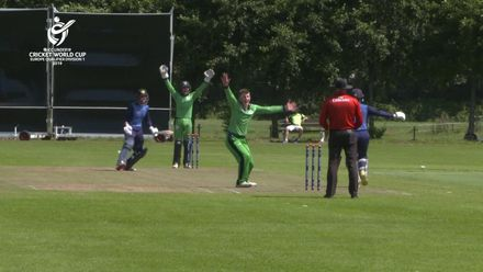 U19 CWC Europe Q: Sco v Ire: Ireland's Nathan McGuire takes 2 for 31 in his 10 overs