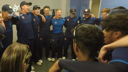 Scotland U19s celebrate qualifying for the U19 Cricket World Cup with a rendition of Flower of Scotland