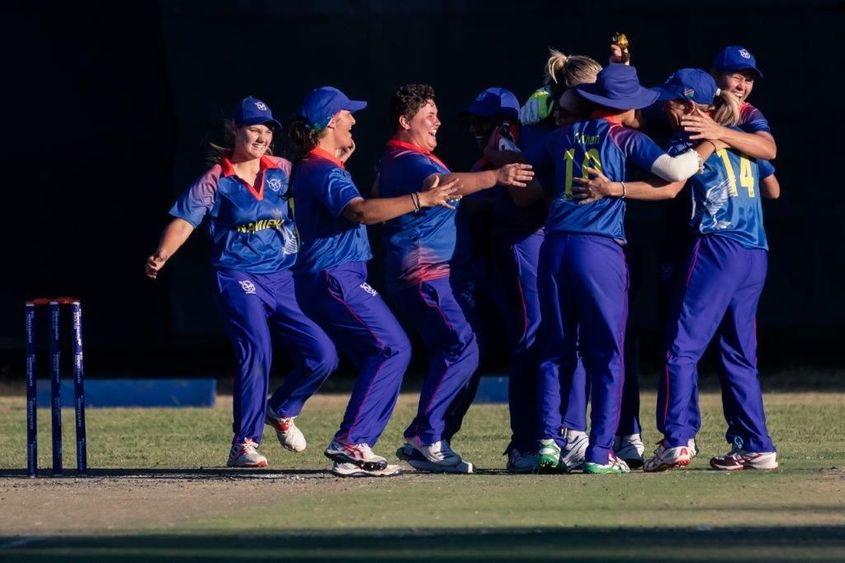 Namibia players celebrate their victory over Uganda