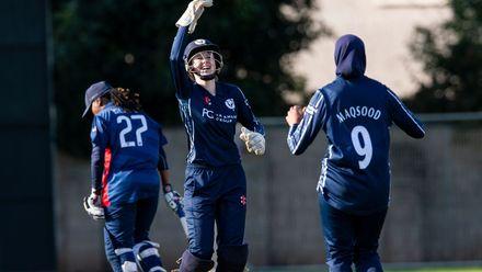 Scotland's Sarah Bryce and Abtaha Maqsood celebrate.