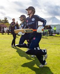 Scotland openers come onto field of play