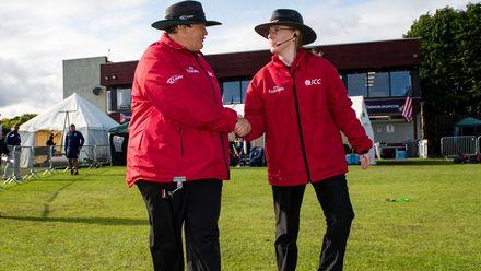 Umpires Sue Redfern and Kim Cotton