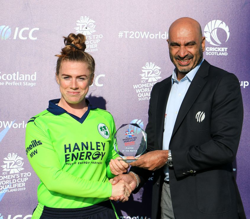 Mary Waldron collects the Player of the Match award