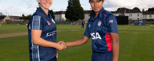 Kathryn Bryce and  Sindhu Sriharsha at the toss.