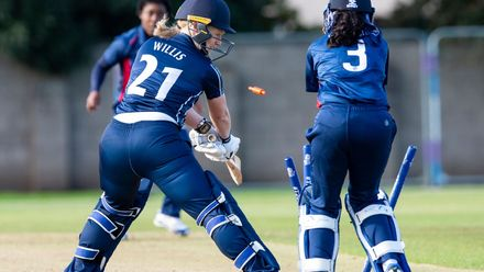 Scotland's Ruth Willis, is clean bowled for 4.