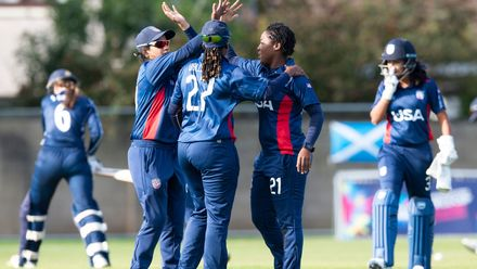 USA celebrate as Scotland's Sarah Bryce is clean bowled by Beckford for 12.