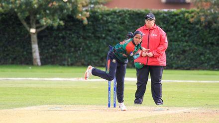 Khadija Tul Kubra bowling from the school end.