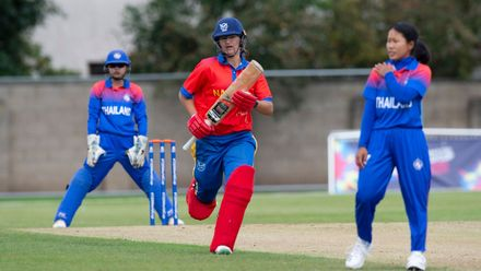 1 run for Namibia captain, Yasmeen Khan.