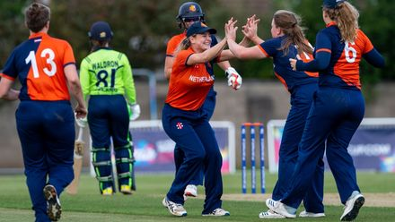The Netherlands celebrate the wicket of Ireland's Mary Waldron for 8.
