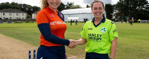 The Netherlands captain, Juliet Post and Irish captain, Laura Delany.
