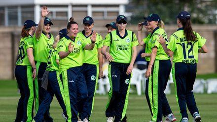 Ireland celebrate as The Netherland's Miranda Veringmeier goes for 28.