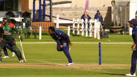 Claudine Beckford bowling from the school end.