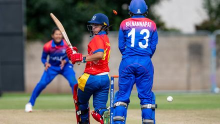 Namibia captain, Yasmeen Khan, bowled for a disappointing 8.