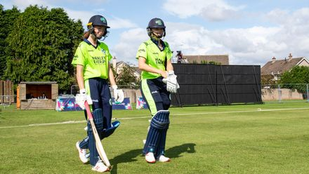 Ireland openers, Gaby Lewis and Orla Prendergast, take the field to begin the match.