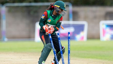 Bangladesh's Nigar Sultana whips off the bails.