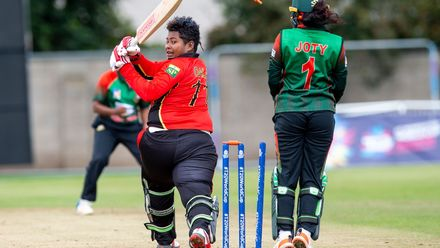 Papua New Guinea's Konio Oala clean bowled by Bangladesh's Rita Moni for 10.