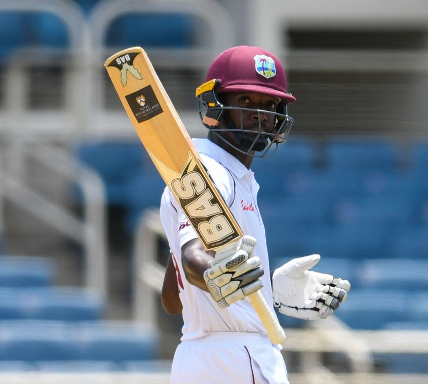 Sharmarh Brooks' maiden half-century held up India for a time
