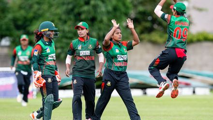 Bangladesh celebrations as Bangladesh's Ritu Moni bowls Papua New Guinea's Konio Oala for 11.