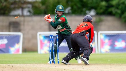 Bangladesh's Nigar Sultana whips off the bails to dismiss Brenda  Tau for 6.