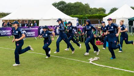 Scotland take to the field.