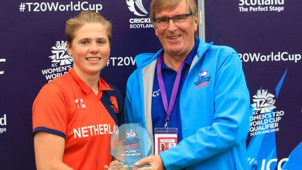 Player of the Match Heather Siegers receives her award from Geoff Fisher President of Arbroath Cricket Club.