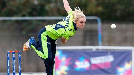 Ireland's Kim Garth bowls.