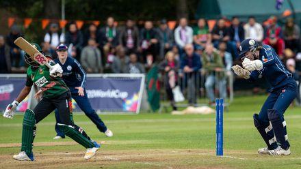 Bangladesh's Ritu Moni clean bowled by Scotland's Abtaha Maqsood for 4.