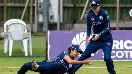Great fielding by Scotland's Priyanaz Chatterji as she flicks the ball to Ellen Watson.