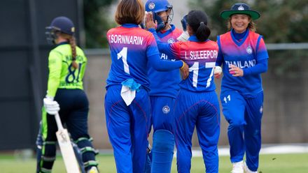 Thailand celebrate the wicket of Ireland's Mary Waldron - caught behind for 14.