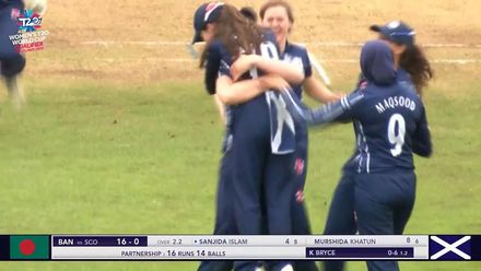 ICC T20WC Qualifier: SCO v BAN - Katherine Fraser takes stunning catch