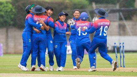 Thailand jubilant as they win the match by 2 runs.
