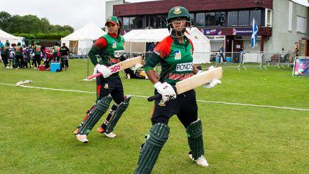 Bangladesh openers Sanjida Islam and Fahima Khatun take the field.