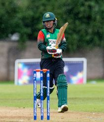 Bangladesh's Fahima Khatun between the wickets.