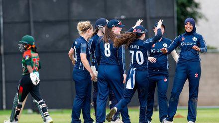 Scotland celebrate the wicket of Bangladesh's Murshida Khatun for 26.