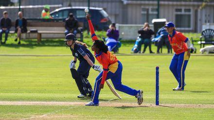 Victoria Hamunyela opens the bowling for Namibia.