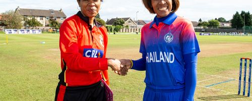 Papua New Guinea captain, Kaia Arua and Thailand captain, Sornnarin Tippoch shake hands before the start.