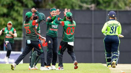 Bangladesh celebrate as Ireland's Mary Waldron is out for 1 run.