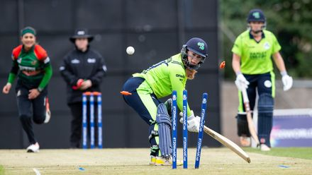 Ireland's Mary Waldron clean bowled by Bangladesh's Jahanara Alam for 1